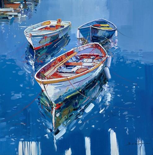 Three Tethered Tenders IV by Santana - Original Painting on Box Canvas